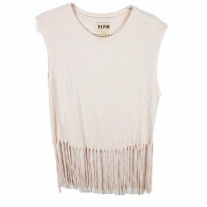 Anthropologie | Pepin Fringe Pink Muscle Top Large